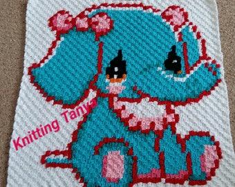 """Hand- crochet cotton blanket""""Elephant"""".(Favorite children guilt)."""