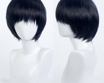 Persona5 Tae Takemi Style Blue Anime Cosplay Party Straight Bang Fringe Bob Short Hair Wig Free Cap