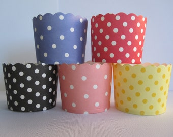 48 Your Choice of Polka Dot Scalloped Portion Nut Favor Baking Cups