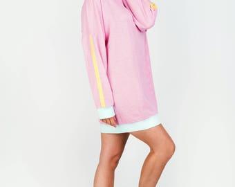 pink mesh long sweatshirt