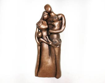 8th Anniversary Family Portrait, Bronze Anniversary Gift, Gift for Her for Him, 8 Year Anniversary Gift, Cold-Cast Bronze Family Portrait