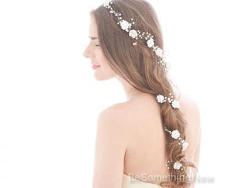 Extra Long Wedding Hair Vine Beaded Wedding Headpiece with Pearls Rhinestones and Flowers Floral Hair Vine