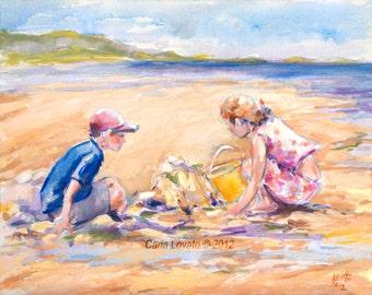 Children playing, family art, ocean painting, beach decor, Sand Castle, Siletz Bay, Oregon Landscape, Children at play,  family art