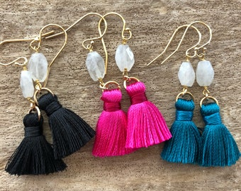 Moonstone & Mini Tassel Minimalist Style Earrings