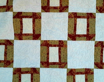 SALE, Brown Lap Quilt, Tan Quilt, Unisex Baby Quilt, Brown and White