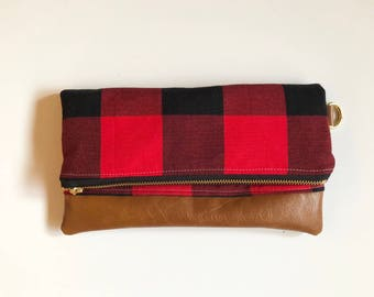 Red and black buffalo print with faux leather