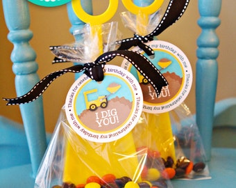 Construction Party Favor Tags Printable File Construction Instant Download DIY Print your own