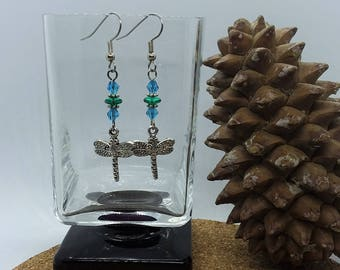 Rainforest Dragonfly Earrings (Pierced or Clip-On)