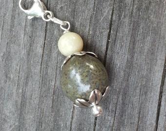 Memorial Bead Charm - Custom Keepsake Stoneware Pottery Pet Cremains Jewelry - FLORAL TIDE Charm
