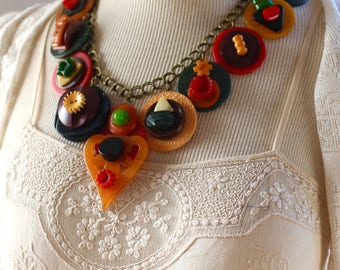 Bakelite button Necklace statement assemblage fall Autumn vintage repurposed stunning jewelry stacked chunky antique OldNouveau Old Nouveau