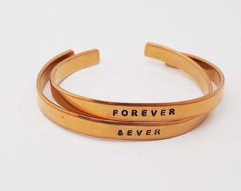 Bronze Anniversary, Bronze Bracelets, Bronze Cuffs, Forever and Ever, Personalized Cuff, 8 Year Anniversary Gift