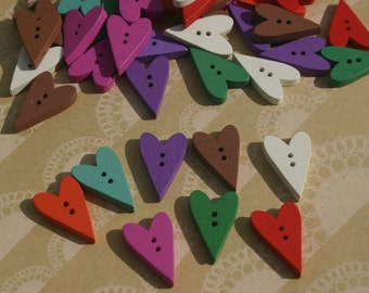 """Wood Heart Buttons - Painted Colorful Wooden Heart Button - Bulk Sewing Crafting Buttons - 1"""" Tall"""