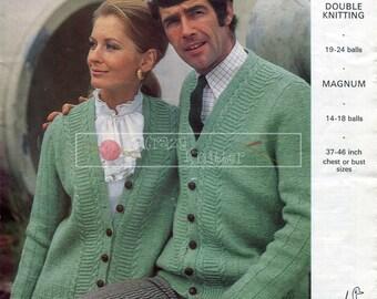 Unisex Cardigan DK 37-46in Emu 4424 Vintage Knitting Pattern PDF instant download