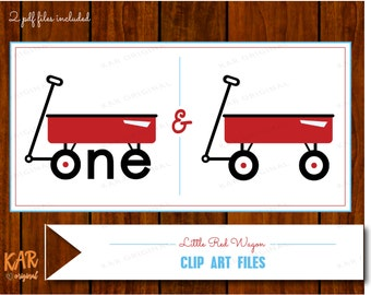 Little Red Wagon Clip Art Digital Download