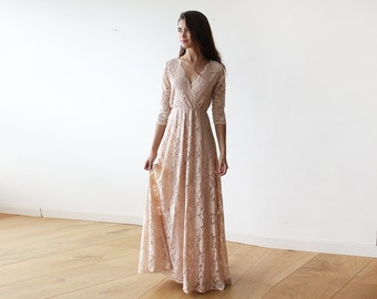 Pink Blush Lace Boho Dress , three quarters sleeves lace gown, Lace pink gown 1124