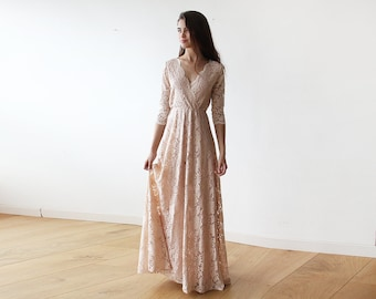 Boho Dress, Lace Gown, Pink Gown, Floor Length Boho Dress, Lace Gown Pink, Boho Dress Floor Length, Pink Boho Dress, Long Boho Dress 1124