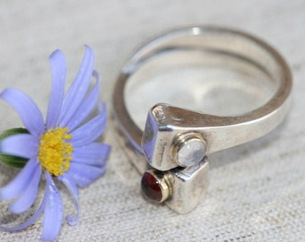 Garnet  Ring, Moonstone Ring, Sterling Silver Ring ,Handmade  Ring , Silver and Gold ,Made in Israel,Mix Stones Ring, Solid Silver Ring,
