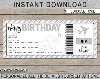 Birthday Gift Airplane Ticket - Printable Boarding Pass - Voucher - Surprise Trip - Silver Glitter - INSTANT DOWNLOAD with EDITABLE text