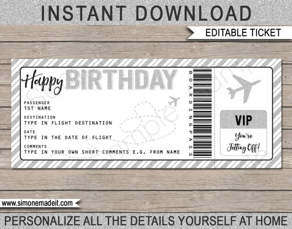 birthday gift airplane ticket printable boarding pass