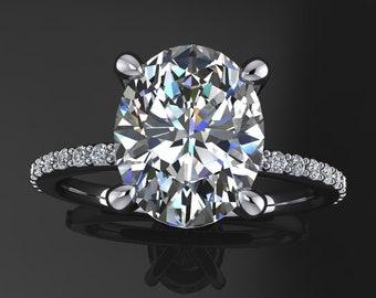 shay ring – 3 carat oval ZAYA moissanite engagement ring, oval engagement ring
