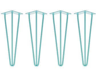 4 x 41cm Hairpin Legs - Bench / Seating - All Colours - Free Floor Protectors, Screws and Guide!