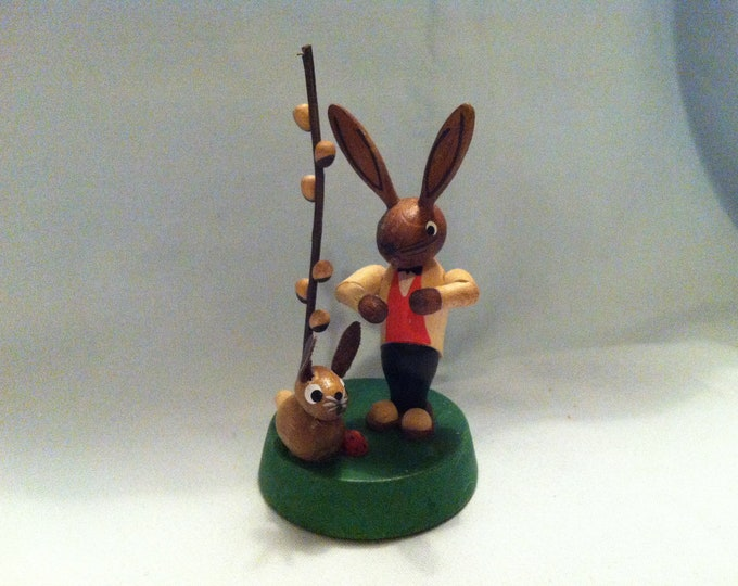 Vintage Ore Mountains bunny with Palm Kitten Palm branch Easter bunny decoration