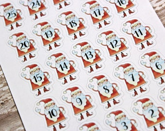 Christmas Countdown Planner Stickers - Reminder Stickers - Planner Stickers - Santa Countdown stickers - Happy Planner - Christmas stickers