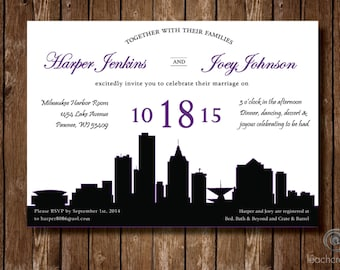 Wedding Invitation//Milwaukee Skyline//Custom Wedding Invitation//Digital printable