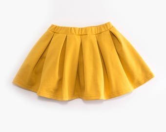Mustard Yellow organic cotton pleated skirt (BIO)
