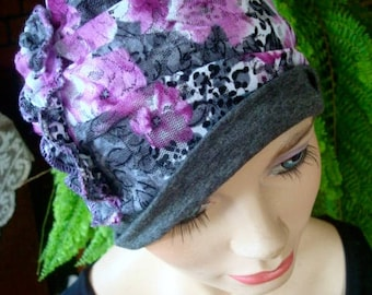 womens hat cloche lilac grey chemo hat chemo headwear soft hat chemo gift floral hat