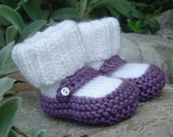 Hand knit baby booties - Mary Jane Booties