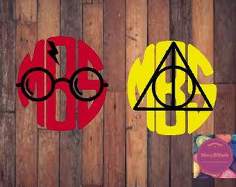 Free Shipping!!! HP wizard and DH monogram decal