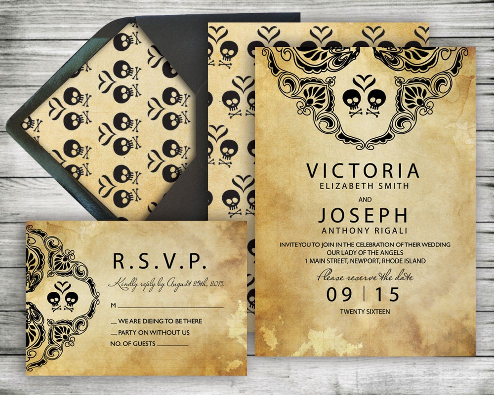 DIY Halloween Wedding Invitation RSVP Kit Rustic Black