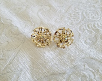 Vintage 1960s Sarah Coventry Allusion Clip Earrings, Vintage Sarah Coventry, Sarah Coventry Allusion, Gold And Aurora Borealis Earrings