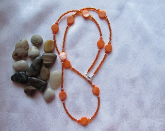 Orange Mother of Pearl and Seed Bead Necklace