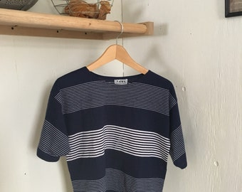 Vintage striped tee in navy and white