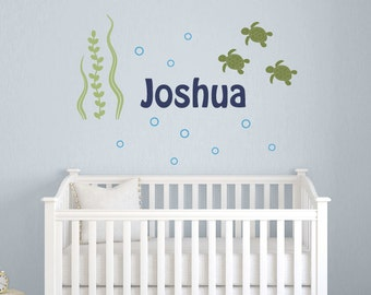 Wall Decal Set Name with Sea Turtles - Nursery Children - Sea Ocean Friends