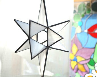 Large stained glass Moravian star, stained glass star, glass suncatcher, stained glass star, 3-D glass star, white Moravian star