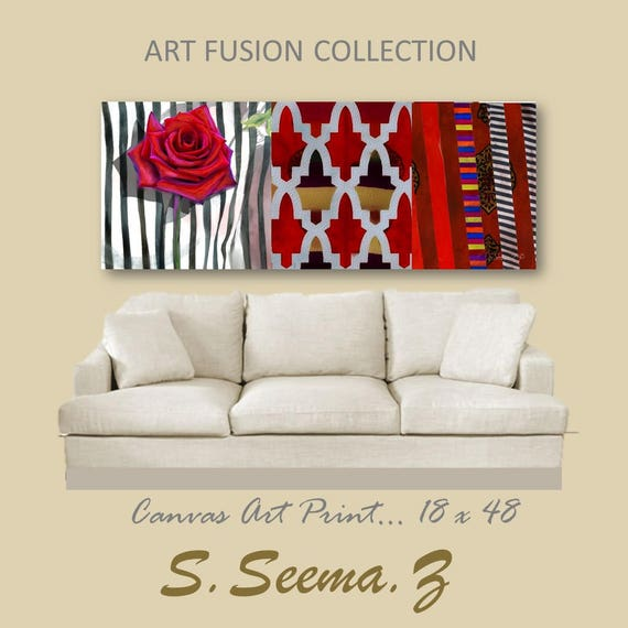 FUSION MOROCCAN-Floral,Wall Art, Home Decor- 48x18 -Living Room-Red-White-Floral-S.Seema.Z