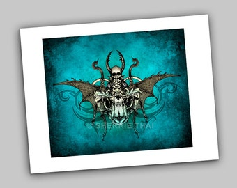 Deathly Scarab Skull Insect, Vintage Dark Gothic Fantasy Horror Style Illustration, Art Print, Sale