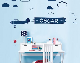 WD101068 | Personalised Name Children Wall Art Sticker - Airplane with Ribbon Flying through the Cloudy Sky, Birds