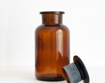 500 ml (16.9 fl oz) Amber Apothecary Jar, Round Czech glass