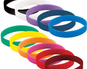10 Silicone wristbands blank Rubber bracelets