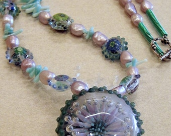 Bungo Wisteria Anemone With Mini-Milli Anemone Lentil Beads by Lori & Kim Pearl and Coral Necklace