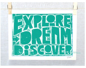 Mark Twain, Explore Dream Discover, Graduation, Retirement, College Dorm Decor, Wall Art, Classroom Decor, Cubicle, Science Quote, Adventure