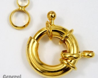 19mm Gold Spring Ring Clasp with Loops #CLA083