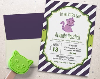 Kitten Baby Shower Invitation.  Cat Baby Shower Theme. Personalized - Digital / Printable File
