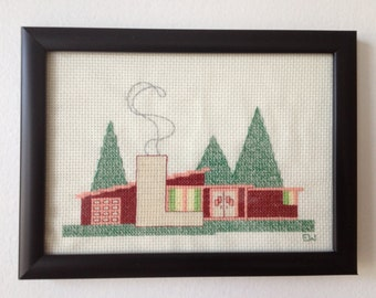 Mid Century Ski Lodge Cross Stitch