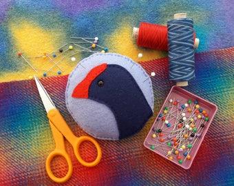 Felt Pukeko Pincushion designed by Cherry Parker
