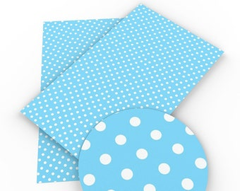 Blue with White Dots, Faux Leatherette Sheet, Size 8 x 13in, Synthetic, Leather, Pleather, Craft,  Eco-Friendly, Hairbow